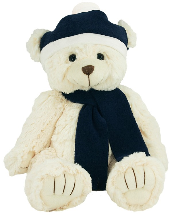 12 Bear with Navy Blue Winter Hat and Scarf
