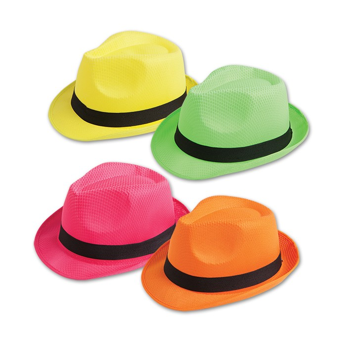 6cda660cb2cc7 12 Pack Assorted Colors Neon Fedora - S59119