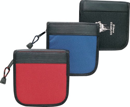 Polyester 24 CDs holder with full zippered closure; Reinforced w/ribbed rubber