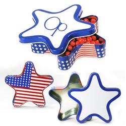 Patriotic Star Shape Tin Box - USA US Flag Stripes and Stars