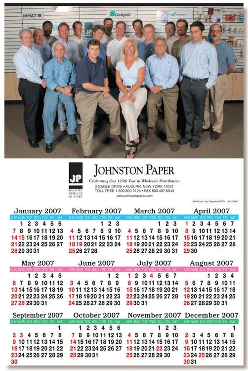 Full Color Economy Year View Calendar