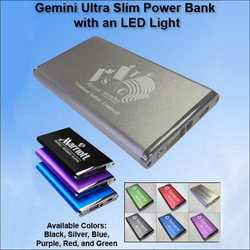 Gemini Ultra Slim Power Bank with LED Light 4500 mAh