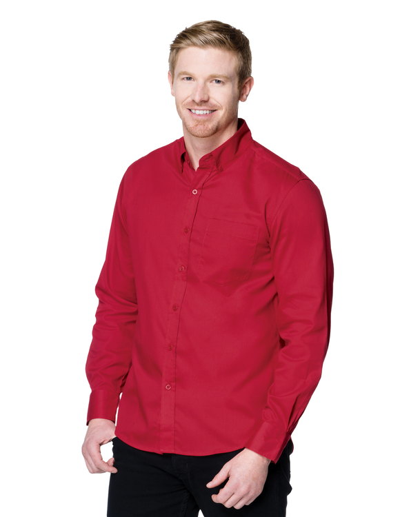 Men's 3.8 oz. 60% cotton/40% polyester brushed twill long sleeve woven shirt.