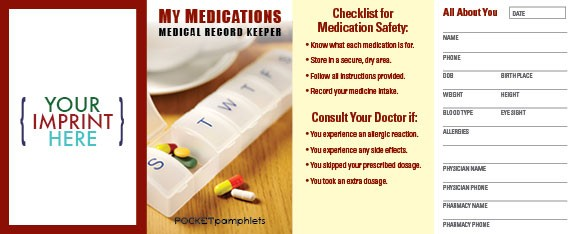 pocket pamphlet my medications medical record keeper pocket