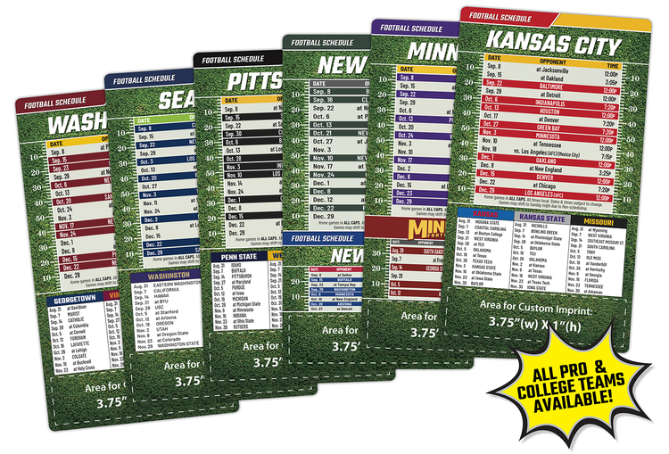 Magnet Sport Schedules - 4x7 Football Round Corners - 30 mil.