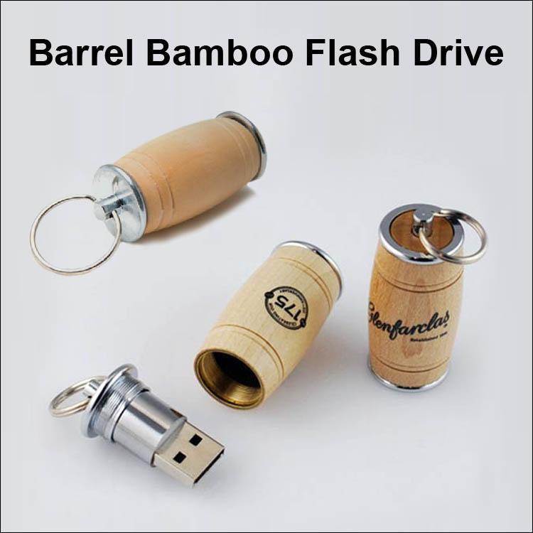 Barrel Bamboo  Flash Drive / USB - 16GB