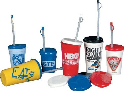 16/22 oz Flyer Lids & Straws with Tips
