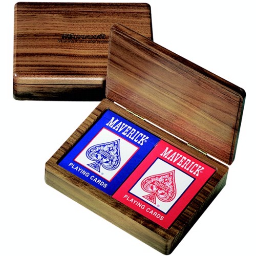 Wood Double Deck Playing Card Box with Cards