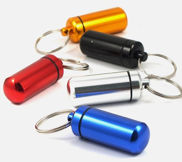 Watertight Aluminum Pill Case with Keyring