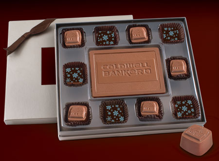 Custom Chocolate Candy Bar w/ 10 Truffles in Window Gift Box