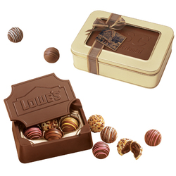 10 oz Small Custom Chocolate Edible Box with Filled Truffles - Chocolate Box