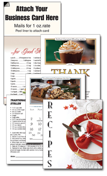 13 Month Recipe Business Card Calendar with Cover