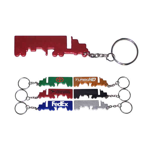 Truck shape key chain, red.
