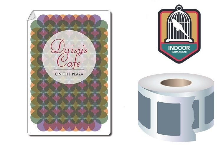 Roll Stickers / Decal - Indoor Permanent - 5x4 Rectangle Shape