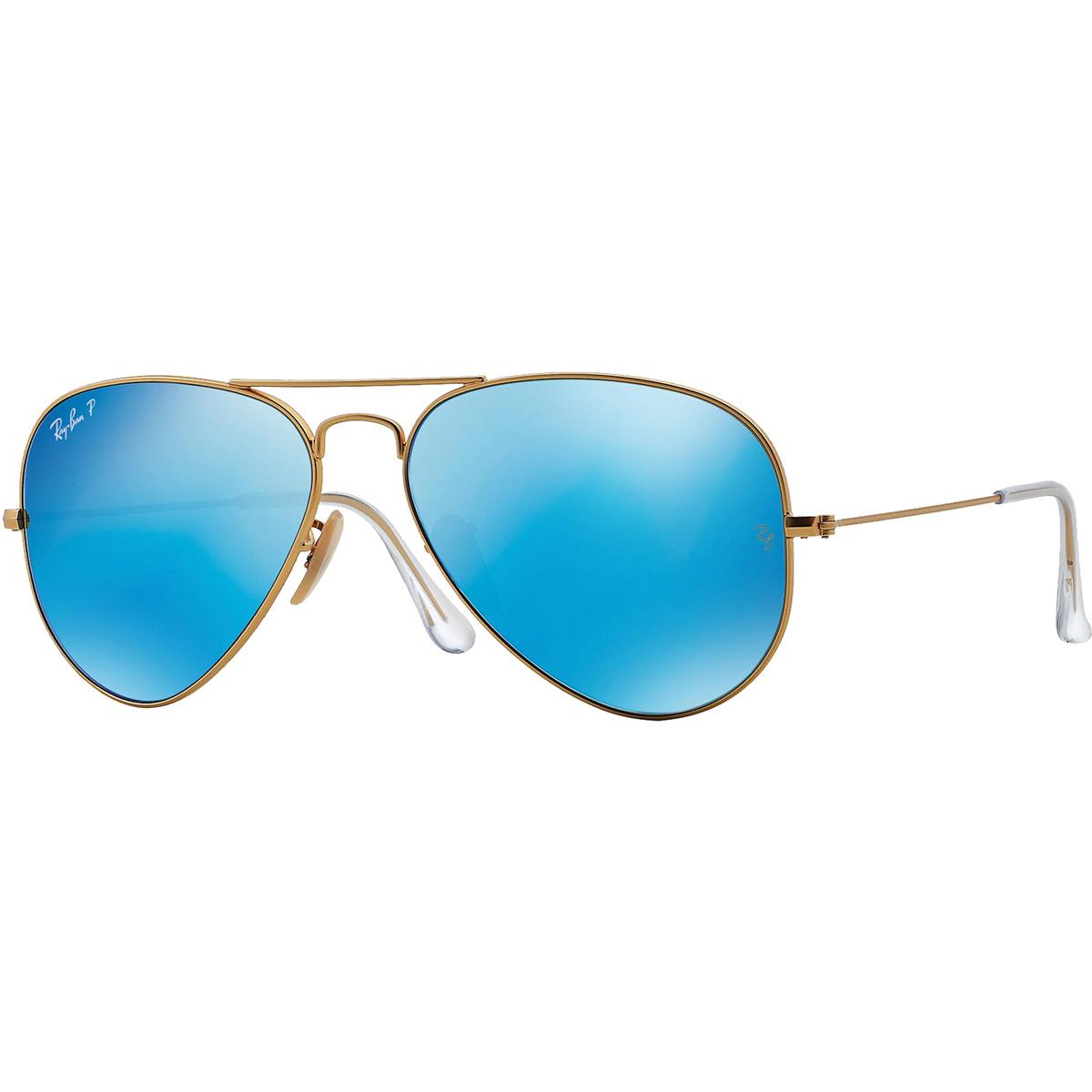 2467a4c219 Ray-Ban Polarized Aviator Sunglasses - Matte Gold  Blue Mirror  0RB30251124L