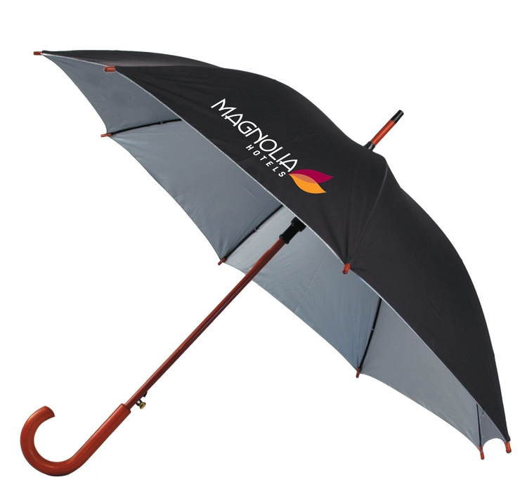 48 Inch Auto Open Umbrella with Wood Hook Handle SALE