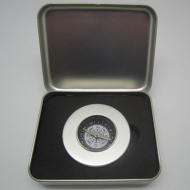 Brushed Silver Compass in Metal Tin Box