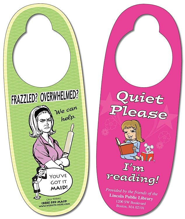Plastic Door Hanger - 3x8 UV-Coated Oval Shape - 10 pt.