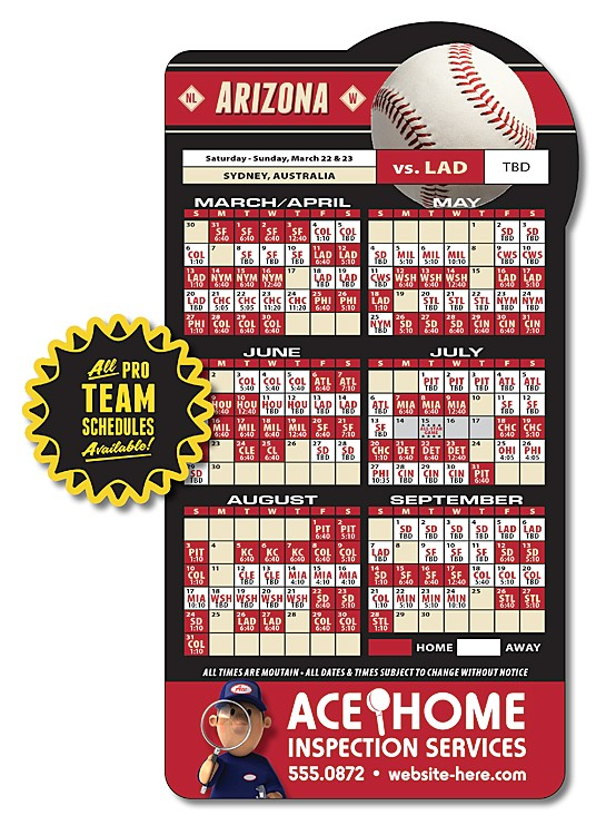 Magnet Sport Schedules - Baseball Shape (3.875x7.25) - 25 mil.