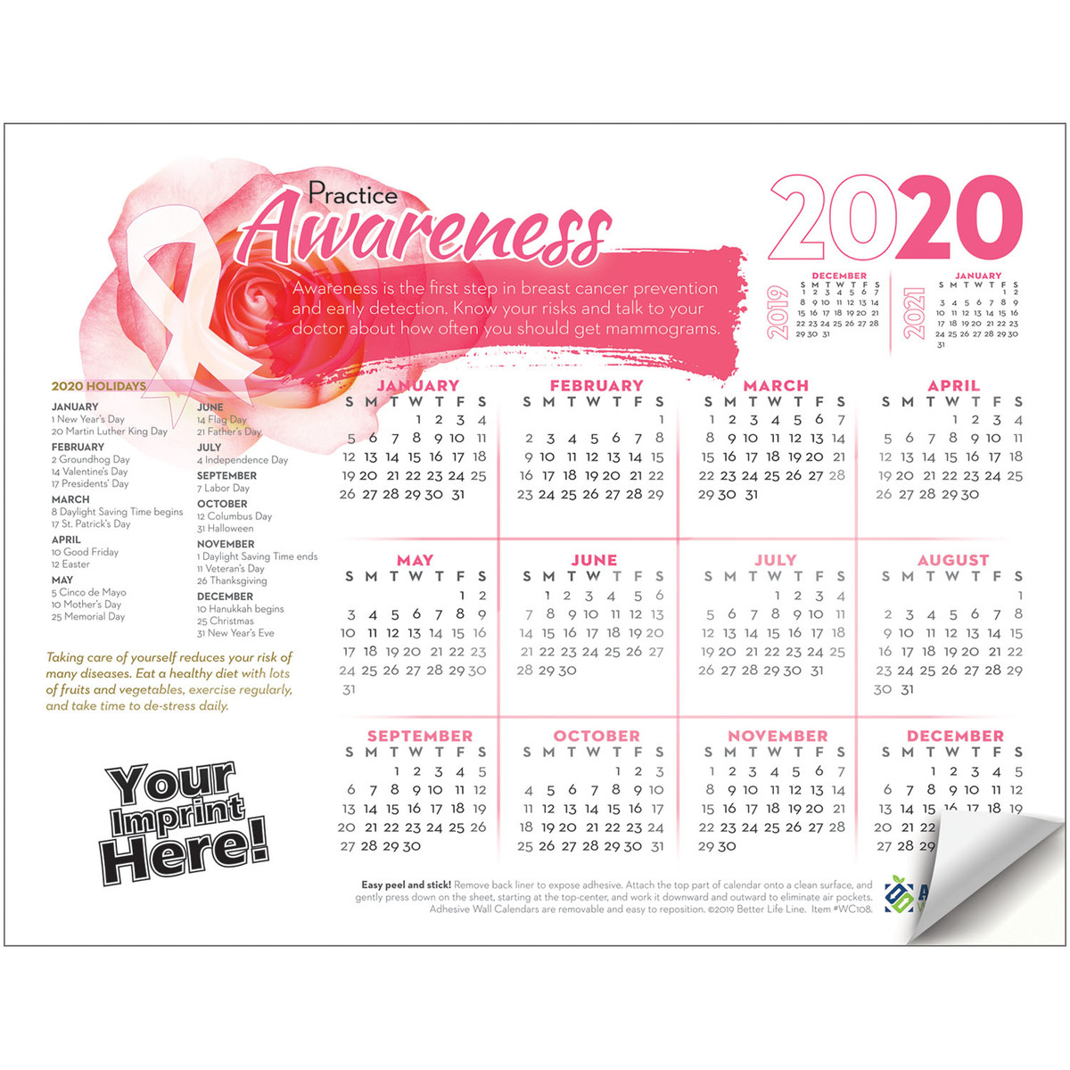 Awareness Calendar 2020 Adhesive Wall Calendar   2020 Practice Awareness (Breast Cancer