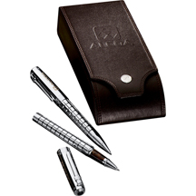 Cutter & Buck® Facet Pen Set - Brass Cap and Barrel with Silver Plating - Silver