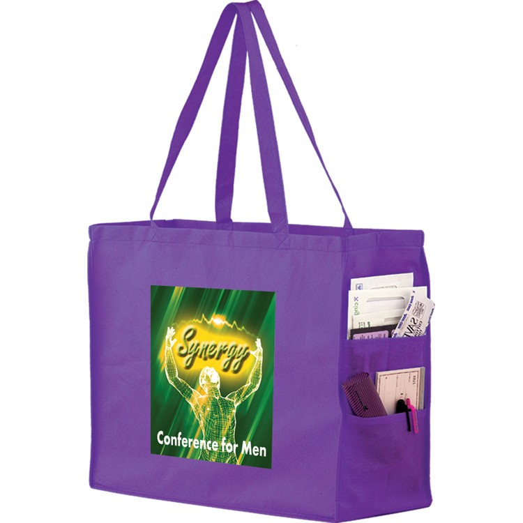 Non-woven Shoulder Tote with Side Pockets