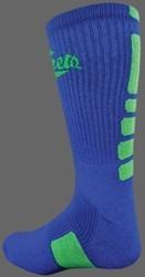 Deluxe CREW Basketball Socks -School Colors w MOISTURE WICKING