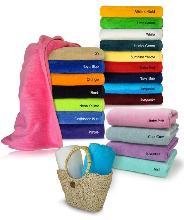 28x58 Economy Light Weight 9 Lbs/ Dz Terry Beach Towels OV Production