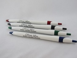 Bargain Click Action White Barrel Ballpoint Pen
