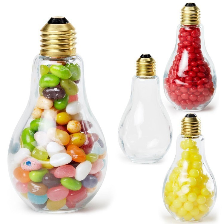 Light Bulb Shape Clear Glass Medium Container Filled with Jelly Beans
