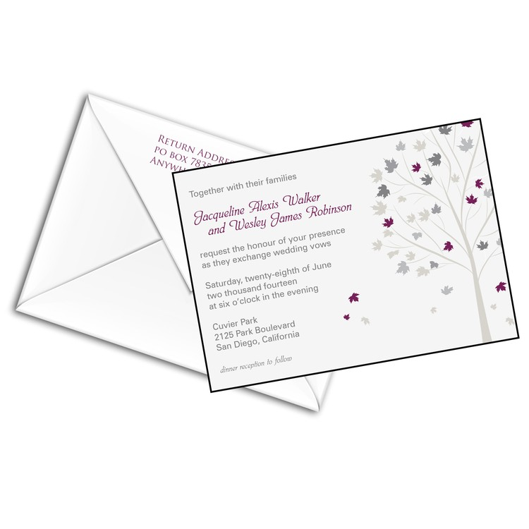 5x7 Wedding Invitation with Printed Envelopes