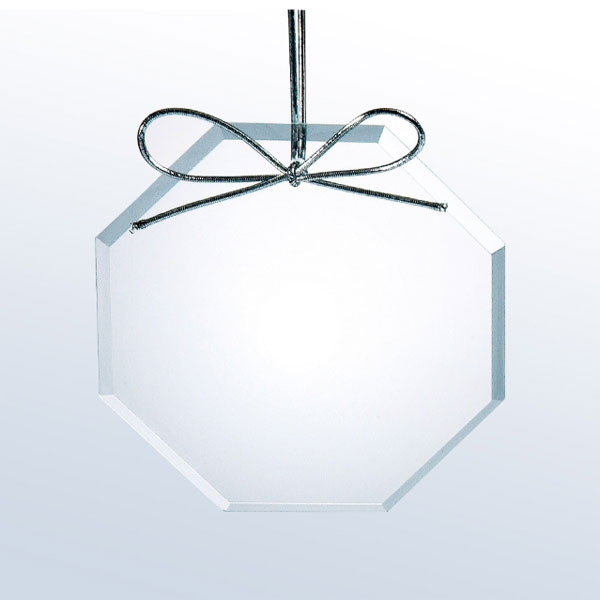 Beveled Clear Glass Ornament - Octagon
