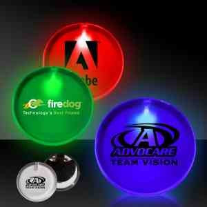 2 Lighted Glow LED Button Pin Badge