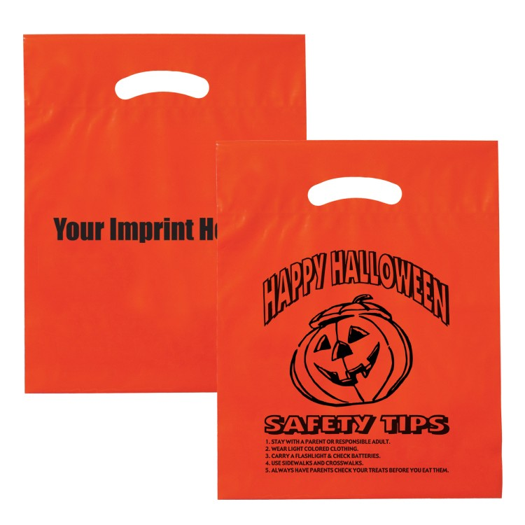 orange ldpe fold over die cut bag halloween 13h12153 knoblauch advertising promotions - Halloween Tips For Parents