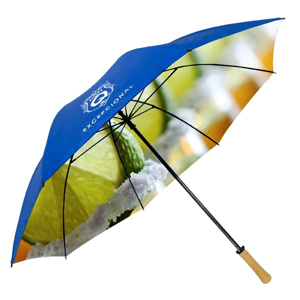 62 Inch Fibergl Umbrella Wood Handle Custom Print Full Canopy 1side Spot Color