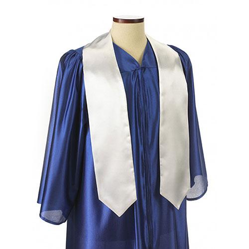 White Polyester Satin Graduation Sash / Stole