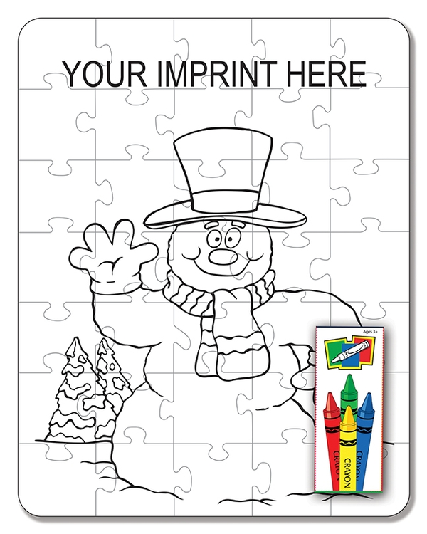 COLORING PUZZLE SET - Snowman (35 Piece)
