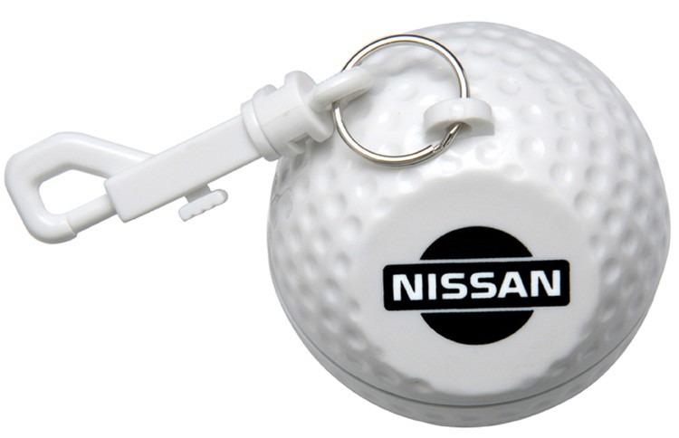GOLF BALL DESIGN PONCHO HOLDER, CLEAR PONCHO WITH HOOD