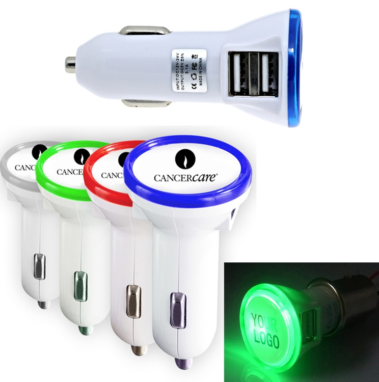 Dual USB Port Car charger with Round LED Illuminated Trim