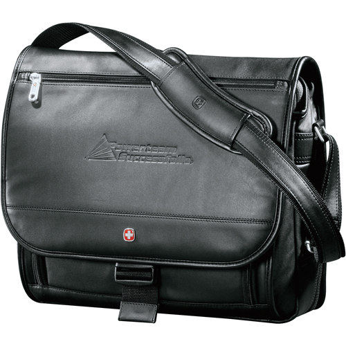 Winger Executive Leather Compu-Saddle Bag