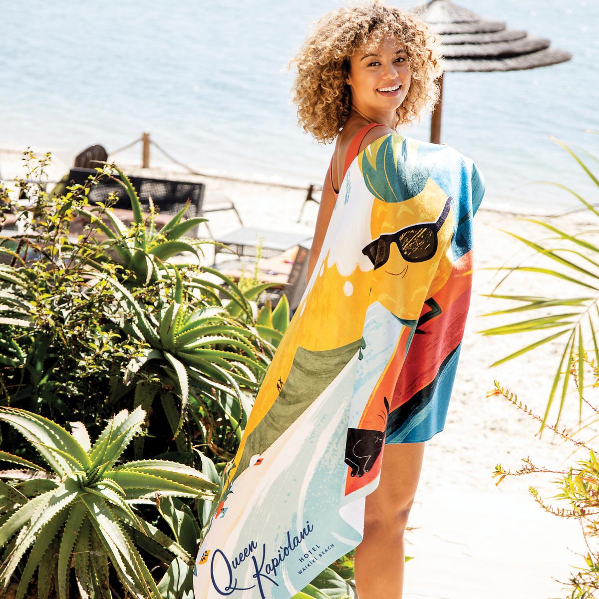 Girl on the Beach Face Sunglasses Terry Velour Beach Bath Towel 30x60