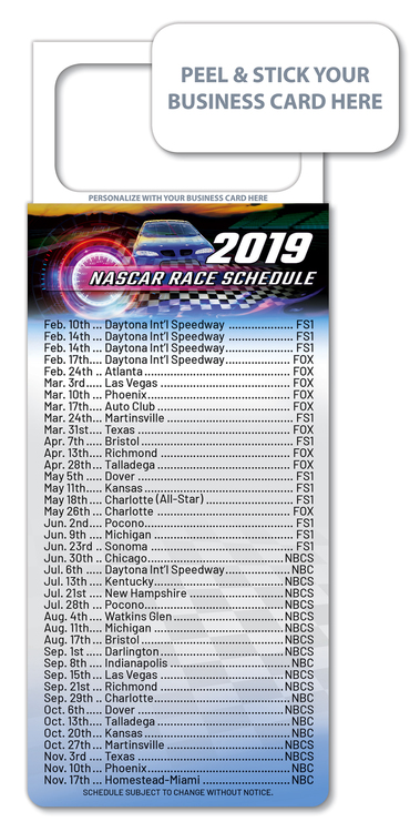 M.B.C. Sport Schedules - NASCAR Racing (3.5x9)