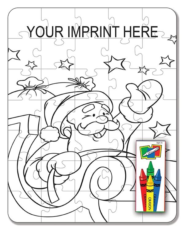 COLORING PUZZLE SET - Santa (35 Piece)