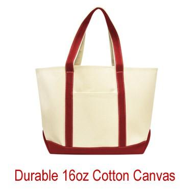 High Quality - Heavy Duty XL 16oz Cotton Canvas Boat Tote Bag