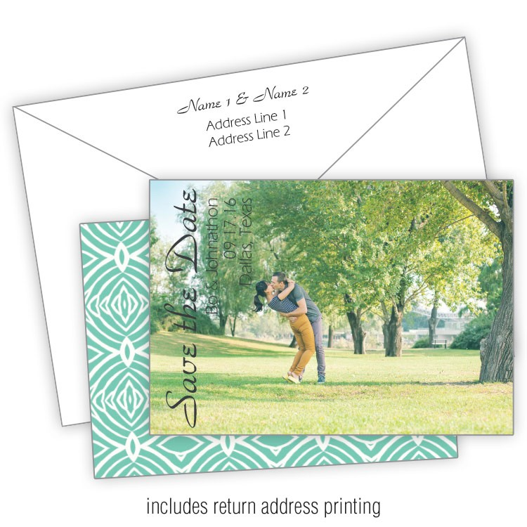 something turquoise 3 5x5 wedding save the date card with printed