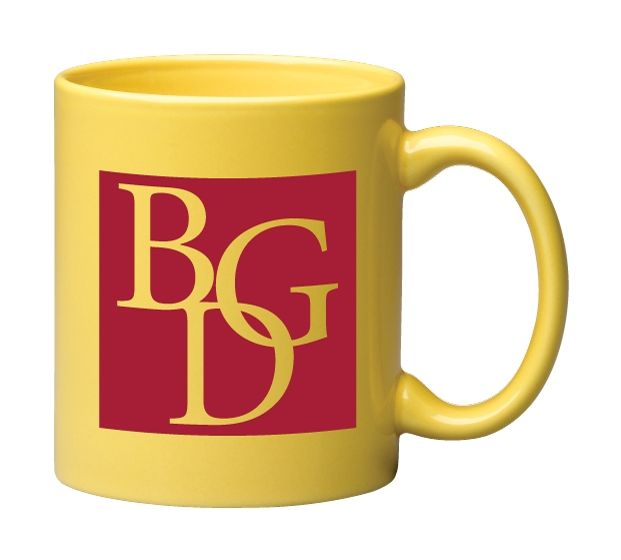 e9fff2625d8 11 oz. Yellow C Handle Mug - CM425   Lizzy Swag, Branded Marketing ...