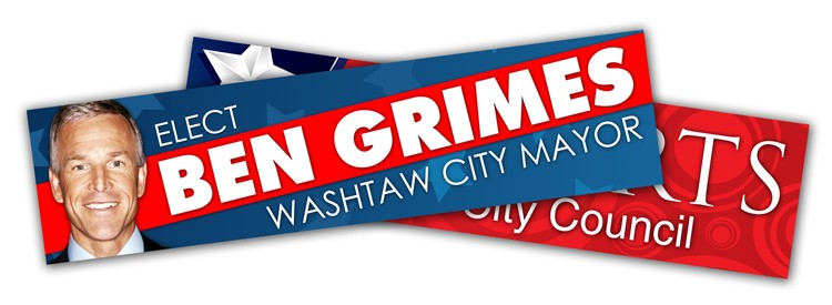 Political Campaign Bumper Sticker - UV-Coated Vinyl (10.5x2.625)
