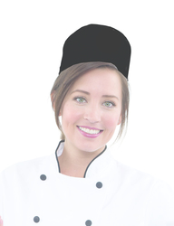Chef Pill Box Hat w/ hook and loop, Black or White - Printed