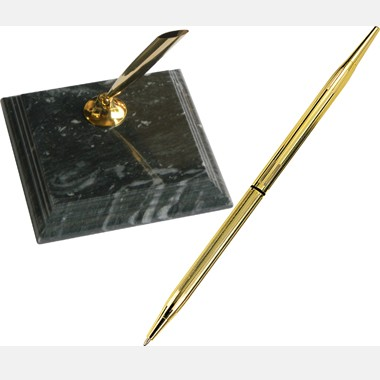 Green Marble Single Pen Stand and Solid Green Marble Base