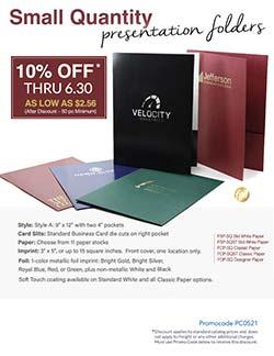 Small Quantity Presentation Folder Sale Flyer from Warwick Publishing